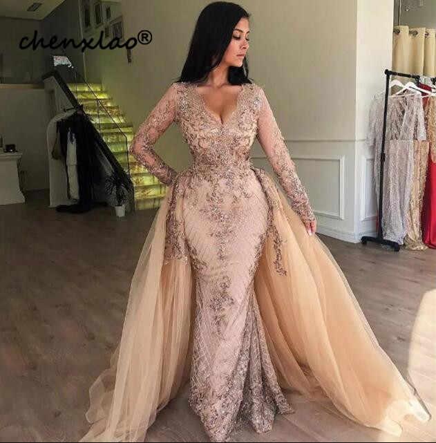 Melocotón malla tutú vestidos De noche largo abiye cuello en V Arabian elegante vestidos De fiesta manga completa falda desmontable bata De Soiree