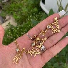 AurolaCo – anneau de ventre personnalisé en acier inoxydable, bijoux de corps personnalisés, anneau de ventre en Zircon couleur or, cadeau pour femmes