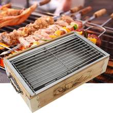 Household Outdoor BBQ Barbecue Grill Square Barbecue Cooking Tools Charcoal Baking Tray Kitchen Accessories Portable(China)