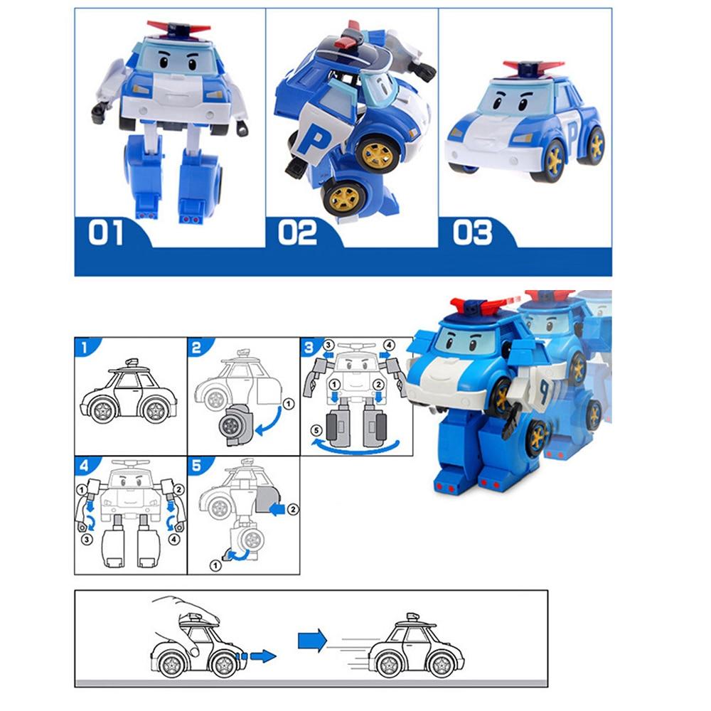 Set de 6 bucăți Poli Car robot jucărie transformă vehicul desen - Vehicule de jucărie - Fotografie 5