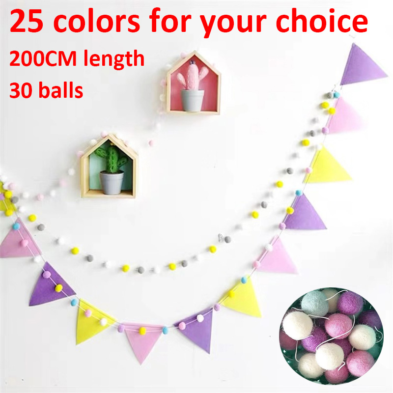 200CM Scandinavian DIY Wool Ball Wall Hangings Nordic Style Kids Baby Children Room Decorations Home Nursery Wedding Home Decor