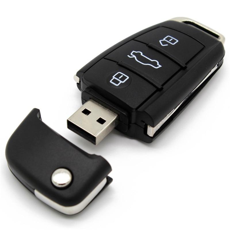 USB2.0 O Audi Car Key  Metal + Glass Model Pendrive Usb2.0 4GB 8GB 16GB 32GB Pen Drive USB Flash Drive Gift Pendrive