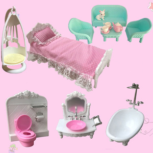 For Barbie doll accessories European-style bed bathtub hanging chair sofa table and chair kettle cup Toilet Closestool washbasin