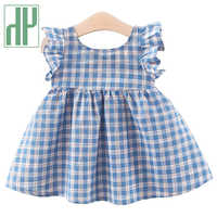 HH Baby Girl Dress Kids Summer Blue Plaid Dresses Sleeveless Clothes Girls Casual Dress Children's Clothing For 0-3 Years Infant