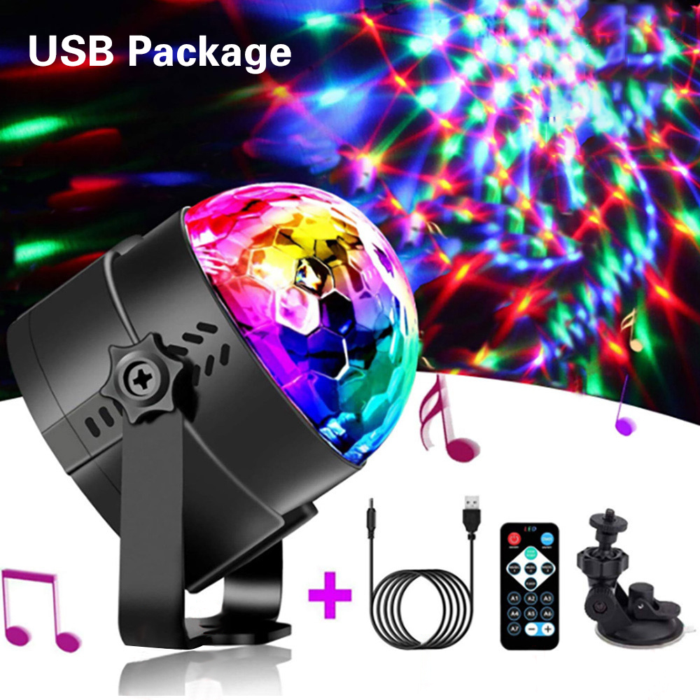 LED Party Effect Crystal Magic Ball Light RGB Stage Lighting 3W Lamp Bulb Party Disco Club DJ Light Show US/EU/AU/UK/USB Plug