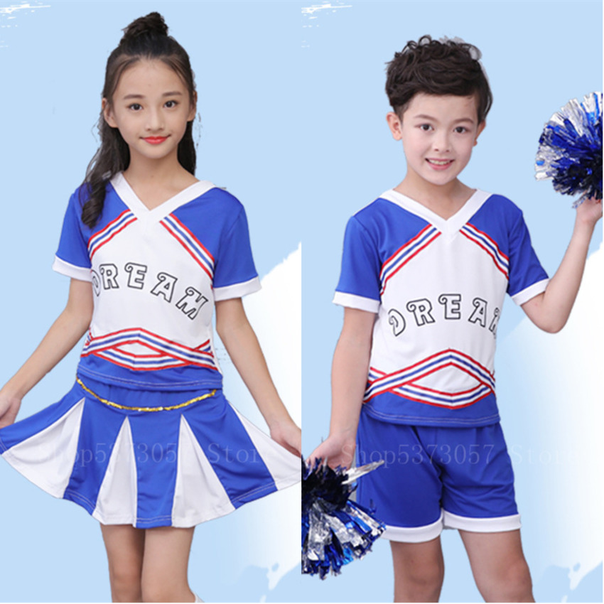 Children Cheerleading Costumes Kid Girls Sport Competition School Team Uniforms Ballroom Party Stage Performance Clothing Outfit