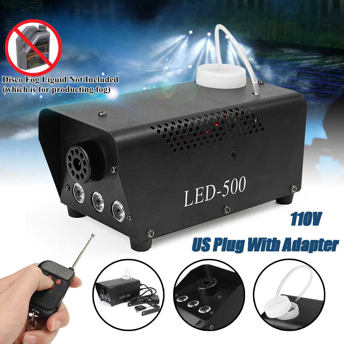 500W Wireless Smoke Fog Machine RGB LED Remote Stage DJ Disco Party Club Light White Smoke Light