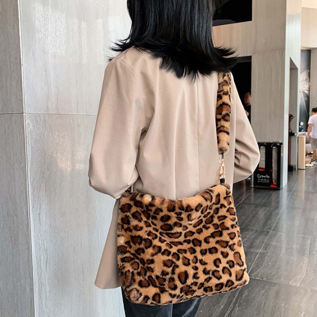 Bags Fur-Bag Plush-Shoulder-Bag Big Tote Handbag Ladies Leopard Print Winter Bolsa-Feminina title=