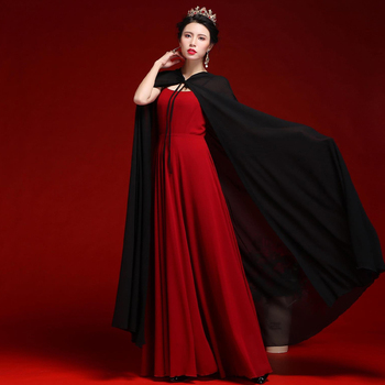 Women Chiffon Bridal Cape Long Wedding Cloak Hooded Elegant Lady Party Prom Cape Cosplay Witch Pirate Rolled Cloak Black Red 4