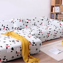 Cute Pets Print Sectional Sofa Covers Stretch L Shape Slipcover Elastic Spandex Fabric Animal/Dog/Cats Corner Couch