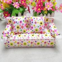 1 Набор Кукольный диван с цветами ткань цветочным принтом миниатюрная