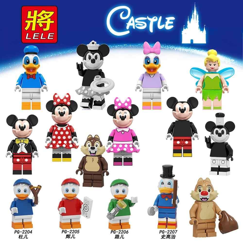 Para amigos Mickeys Chip Dale dibujos animados princesa Donald Scrooge pato Daisy mermal Tinker Minnie Mouse bloques de construcción figuras Juguetes