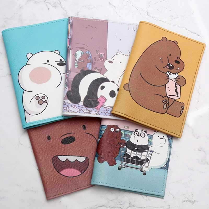 Travel Accessories Cartoon Three Bears Passport Holder PU Leather Travel Passport Cover Case Card ID Holders 14cm*9.6cm