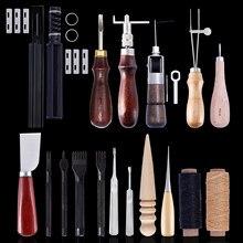 Miusie ferramentas de costura de couro, conjunto de ferramentas para trabalhar com couro em artesanato de diy, costura à mão, trabalho manual com awl waxed thread thimble kit