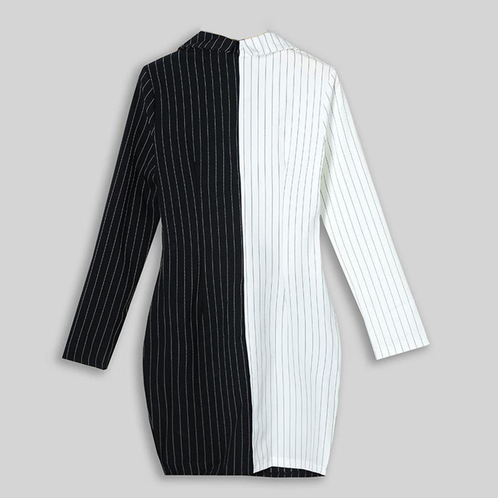 Lady Lapel Bodycon Stripe Print Long Sleeve Patchwork Slim Fit Midi Dress Blazer