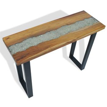 Stół konsolowy z drewna tekowego 100x35x75 cm stoliki pomocnicze tanie i dobre opinie CN (pochodzenie)