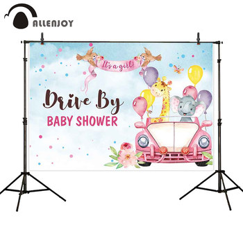 Allenjoy Safari Party Background Balloons elephant Car Girl Baby Shower Backdrop Birthday Photo Shoot Photocall Decoration - discount item  27% OFF Festive & Party Supplies