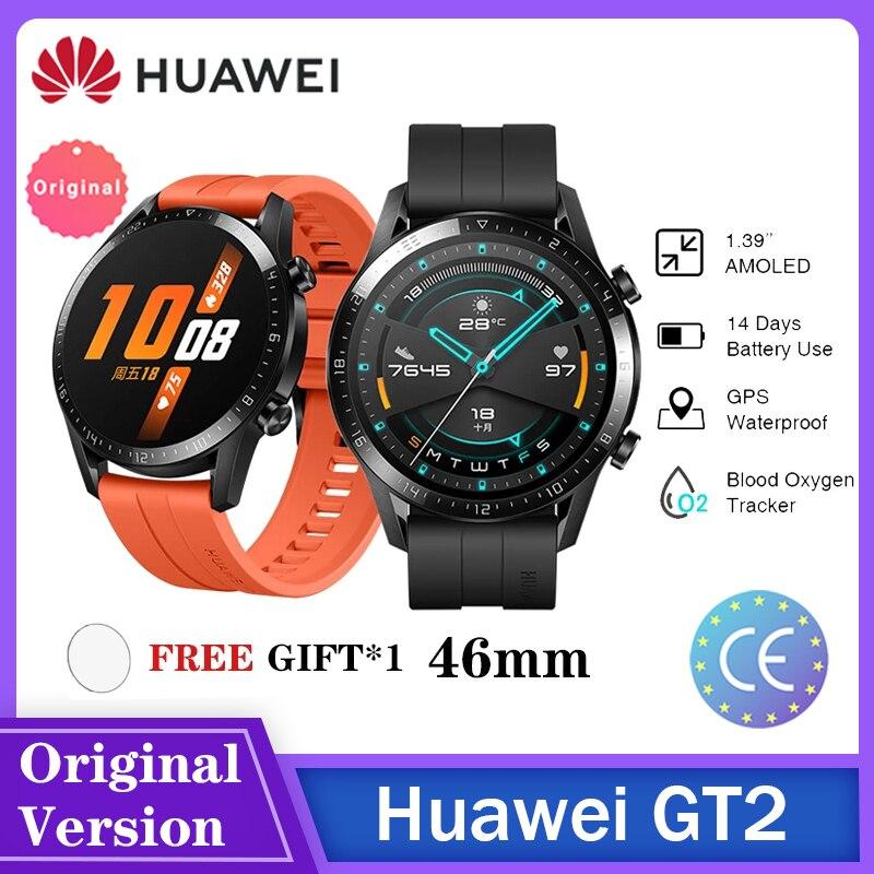 Глобальная версия HUAWEI часы GT 2 GT2/E умные часы кровяное давление 14 дней, с функцией звонка, отслеживание частоты сердечных сокращений в наличи...