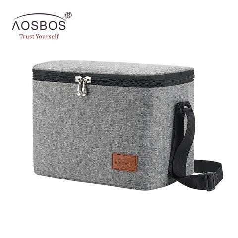Bolsas de Almoço Térmico para as Crianças dos Homens Bolsa de Armazenamento Aosbos Moda Portátil Multifuncional Comida Piquenique Cooler Box Isolado