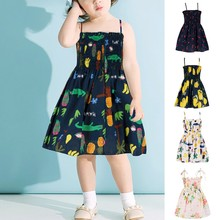 New summer babys Dress Toddler Baby Kids Girls babys Dress Sleeveless Summer Print Dresses Casual Clothes Sleeveless Dresses cheap COTTON Knee-Length O-neck REGULAR Fits true to size take your normal size PATTERN Children A-Line children clothing 2020