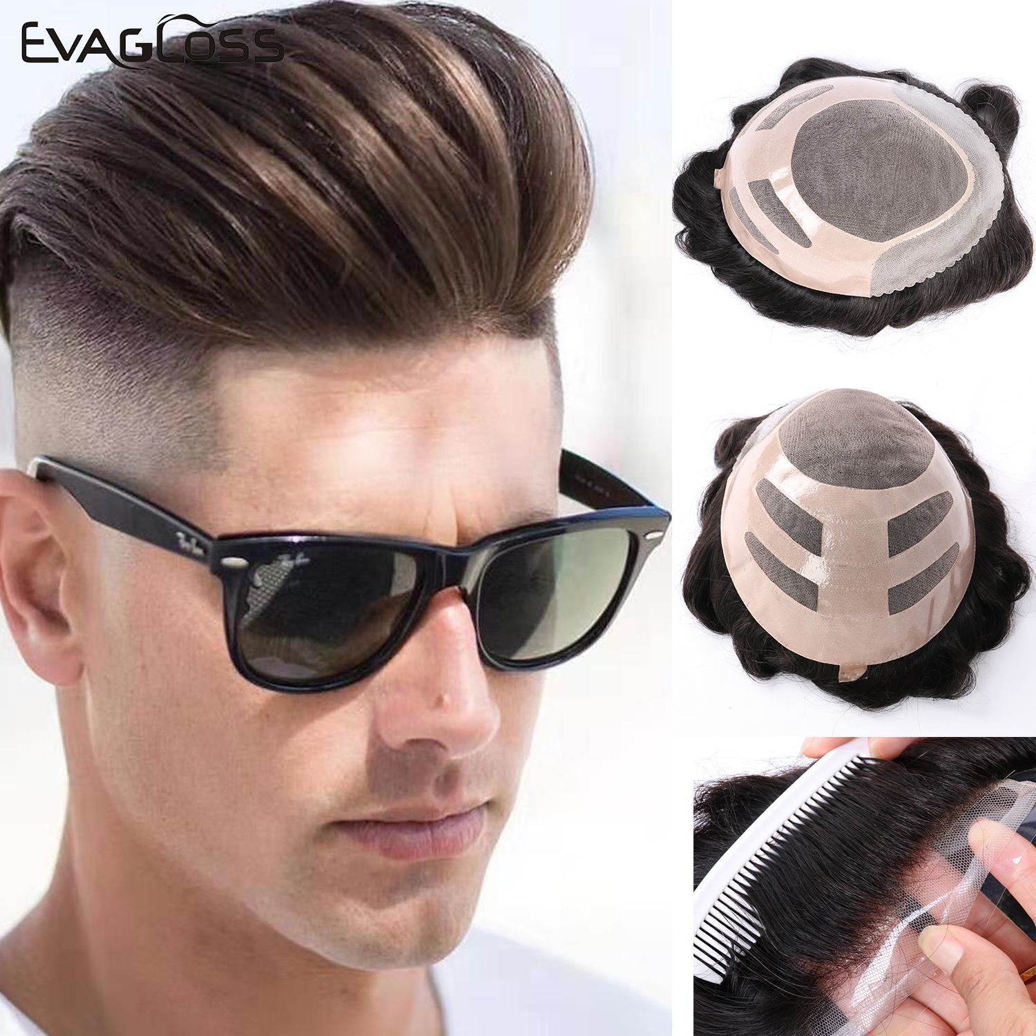 EVAGLOSS Natural Human Hair Mens Toupee Size 8*10 French Lace Front Hair Replacement System Fine Mono Hairpieces Wigs For Men