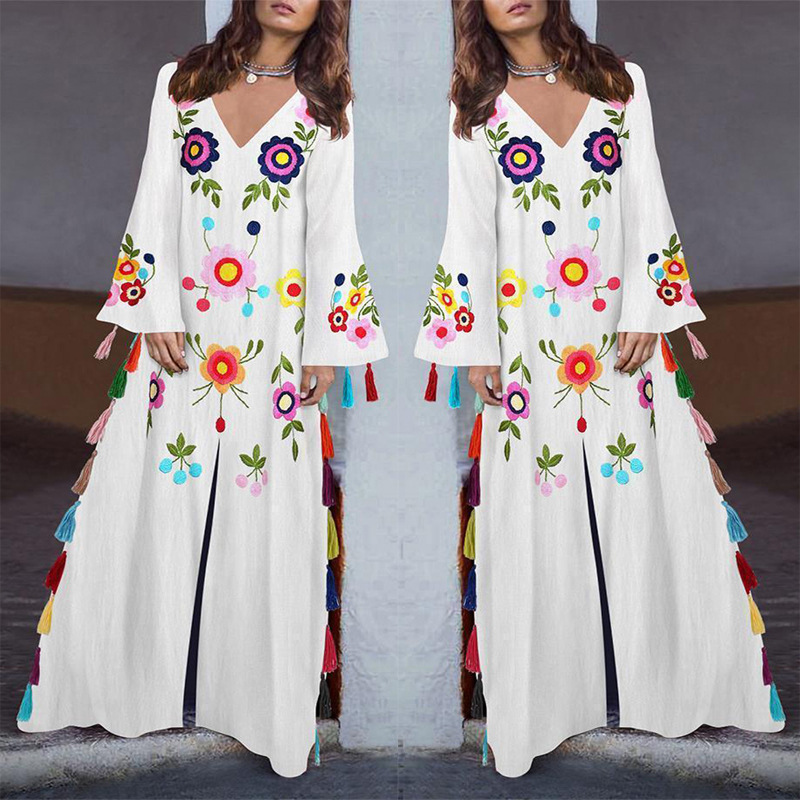 Bohemian Party Maxi Dress Women Tassel Flare Sleeve V-Neck Print White Dresses Casual Loose Beach Vacation Long Dress Plus Size image