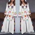 Partido Maxi Dress Mulheres Bohemian Borla Alargamento Manga Com Decote Em V Vestidos Brancos Impressão Casual Solta Praia Férias Vestido Longo Plus Size