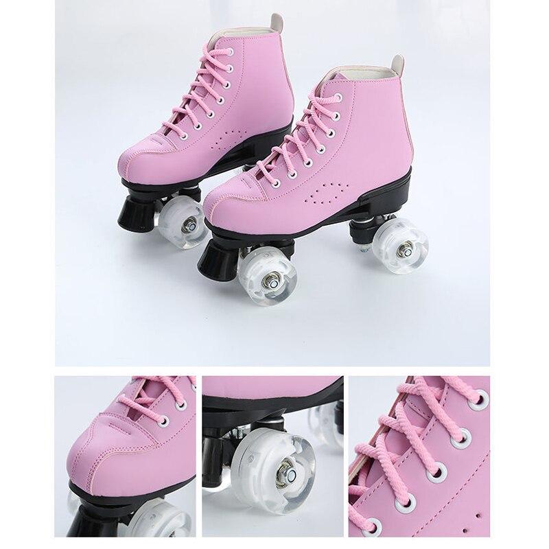 2020 nouveau microfibre cuir patins à roulettes homme femme extérieur patinage chaussures 4 roues Patines bleu rose 34-44 Europe taille - 6