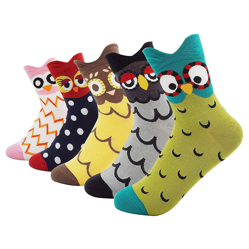 Harajuku Kawaii Socks Women Cotton Cartoon Cute Animal Owl Dot Print Happy Funny Socks Casual Middle Tube Autumn Winter Hip Hop