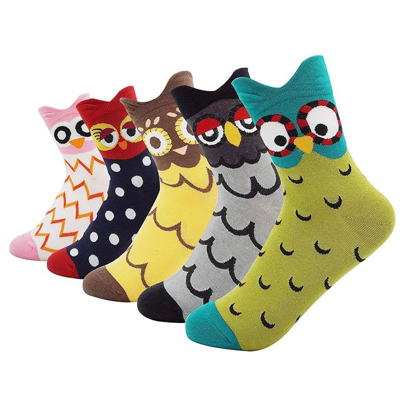 Harajuku Kawaii Socks Women Cotton Cartoon Cute Animal Owl Dot Print Happy Funny Socks Casual Middle Tube Autumn Winter Hip Hop