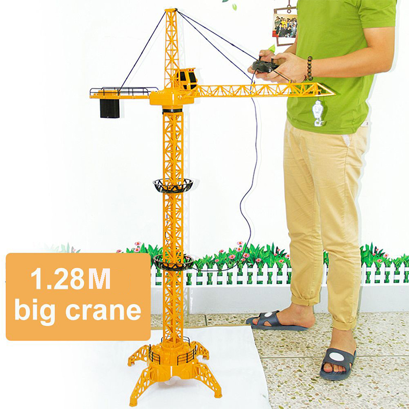 1.28 Meter Remote Control Tower Crane Toy For Kids Children Tower Crane Construction Toy Diecast Tower Slewing Crane Truck Model