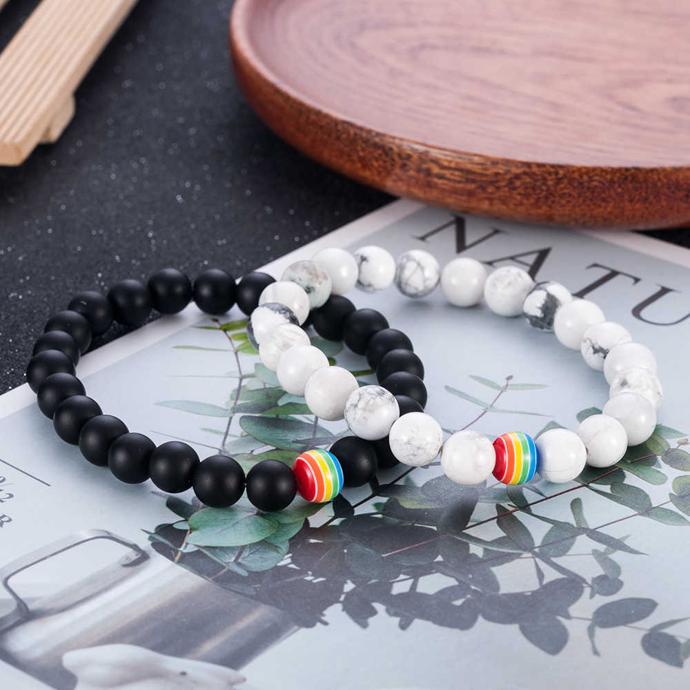 1Pc Women Men Rainbow Flag Ball Natural Stone Black Onyx Beads Bracelet June Pride LGBT GAY Couple Jewelry For Love