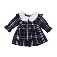 Little Girl's Fashion Dresses Fresh Plaid Doll Collar Long-sleeved Children Princess Dress For Autumn Winter 0-24 Months Baby(China)