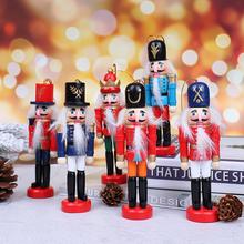 12cm dziadek do orzechów lalek ozdoby świąteczne dekoracja stołu kreskówki rysunek orzechy włoskie żołnierze zespół lalki dziadek do orzechów miniatury tanie tanio CN (pochodzenie) Ludzi Sztuka ludowa Organiczny materiał