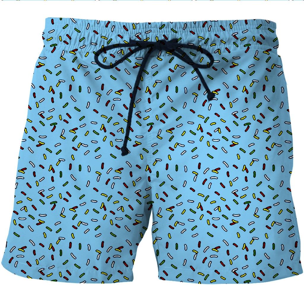 Digital Printing Men's Quick Dry Shore Shorts Creative Printing Two Side Pocket Casual Shorts