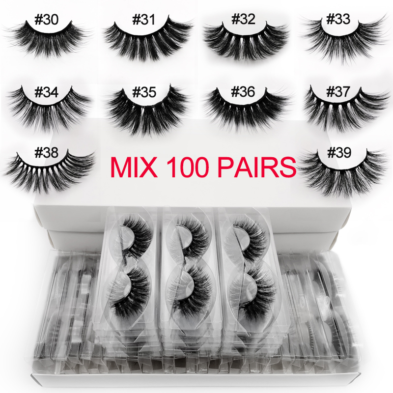 wholesale 3d mink false eyelashes 20/30/40/50/100 pairs fluffy wispy fake lashes natural long makeup eyelash extension in bulk