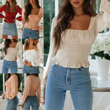 Fashion Summer Ruffle Frill Tops Beach Blouse 	Women Slim Long Sleeve Shirt Formal Tops недорого
