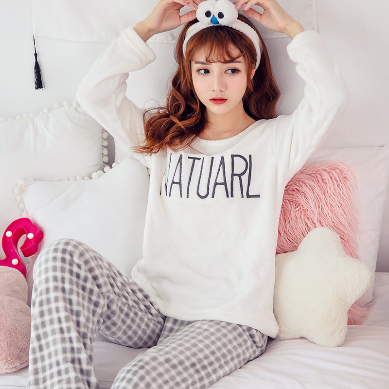 Women pajamas set Women Pyjamas Thick Flannel Cute Sheep Female Warm Winter Pajama Set Long Sleeve Full Trousers Two Piece 2019 48