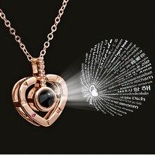 Romantique cadeaux de mariage coeur colliers pendentifs amour Bijoux 100 langue Projection je t'aime déclaration collier femmes Bijoux