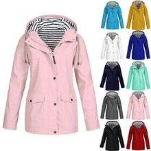 10 Colors Plus Size womens jacket Solid Hooded Raincoat Outdoor Jacket Waterproof Windproof Coat chaqueta mujer