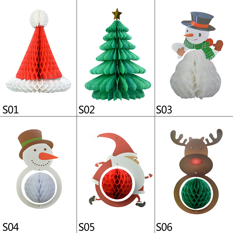 Christmas Paper Snowman Honeycomb Table Hanging Decoration Set of 2