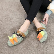 Hairy shoes women winter 2019 autumn new flat cute radish lamb hair lazy shoes pedal shoes(China)