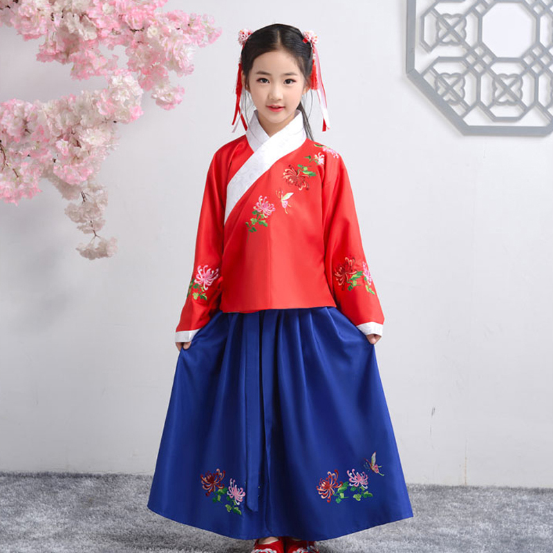Flower Girl's Birthday Banquet Embroidery Dress Elegant Han Fu For Girls'School Party Dinner Dresses For Graduation Ceremony
