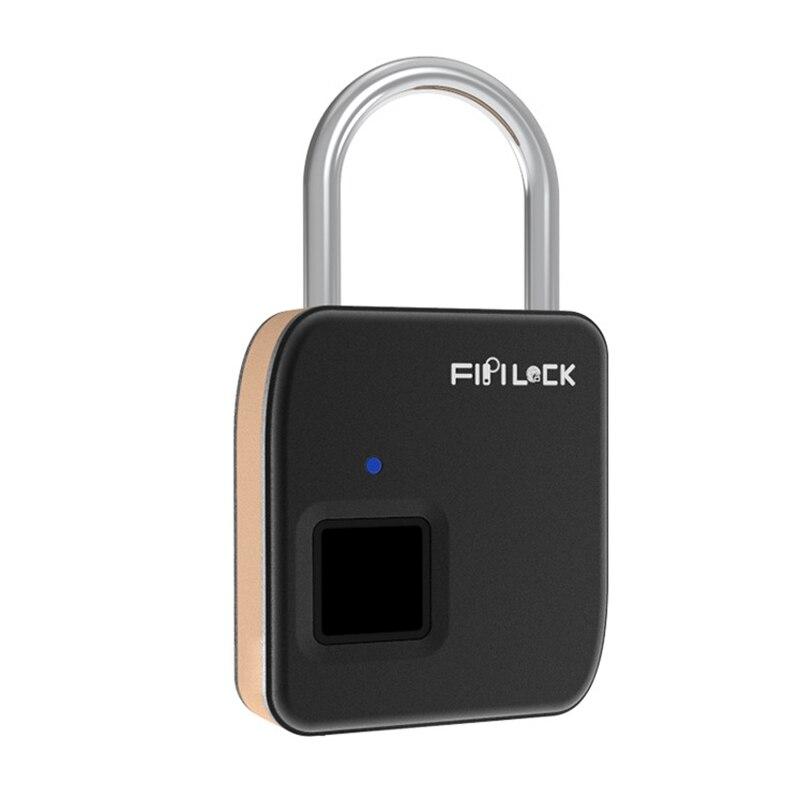 Fipilock Security Keyless USB Rechargeable Door Lock Fingerprint Smart Padlock Quick Unlock Zinc Alloy Metal FL-S3