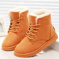 Botas de Invierno para Mujer, Botines de nieve para Mujer, botas de piel de ante para Mujer, Zapatos de plataforma de felpa para Mujer, Zapatos negros para Mujer 2020