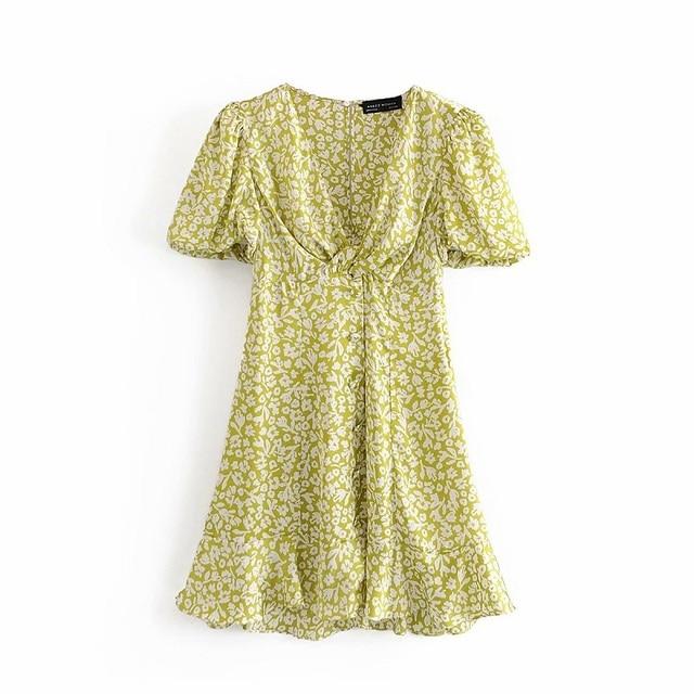 Za Lemon Green Print Mini Woman Dress Summer Puff Sleeve Floral Dresses V-neck Pleated Waist Casual Vintage Dress Women Ruffle 5