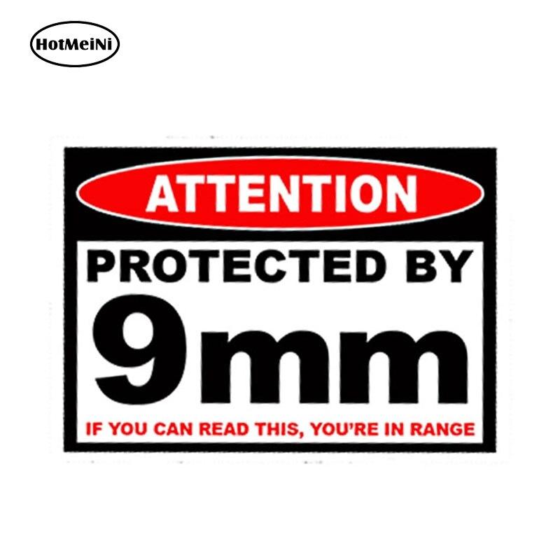 HotMeiNi 13cm X 9.75cm Car Styling Protected 9 Mm Warning Sticker Pistol Gun Case Safe Ammo Box 9mm Amendment Car Sticker