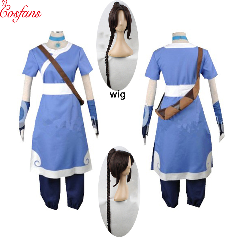 2020 New 6PCS Avatar The Last Airbender Katara Men Cosplay Costume Halloween Cosplay Women Costumes And Wigs Custom Made Size