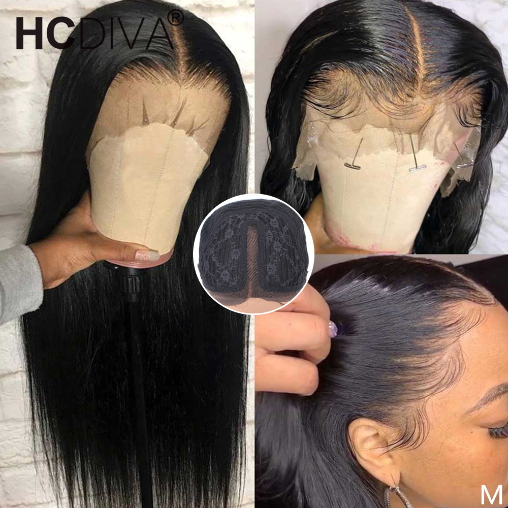 Middle Part Lace Wig 30inch T Part Straight Lace Part Wig 13*1 Remy Brazilian Straight Human Hair Wig Pre Plucked With Baby Hair