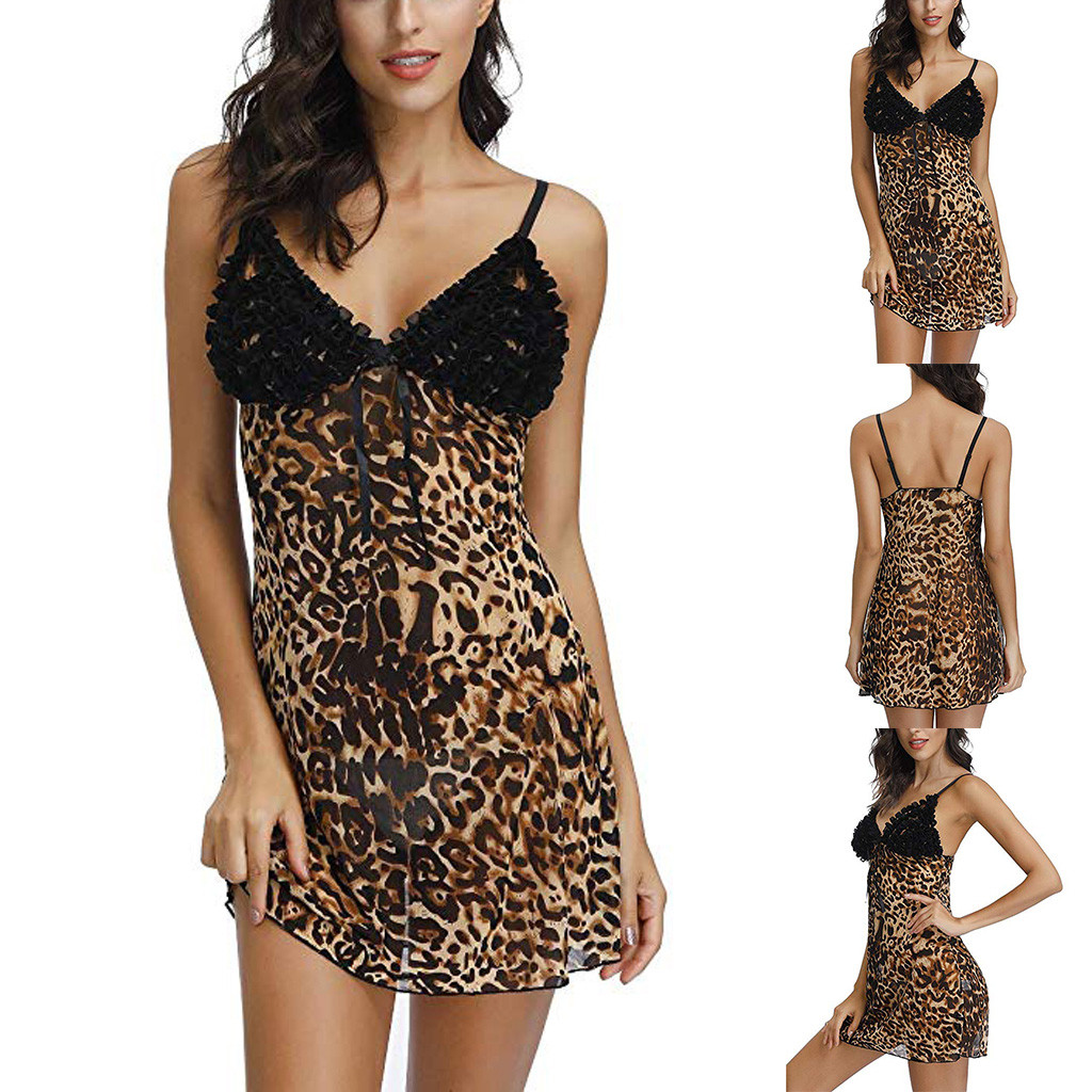 Sexy Night Dress V Neck Nightwear Leopard Print Sleepwear Nightgowns Lingerie Temptation Camisole  Underwear Nightdress